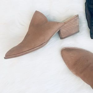 Dolce Vita Tan Western Inspired Pointed Toe Mules